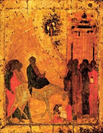 Jesus enters Jerusalem, Andrei Rublev, Russia 15thC