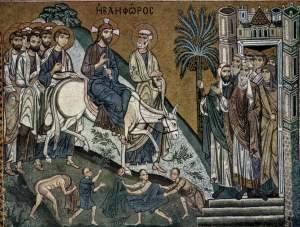 Jesus enters Jerusalem, Norman mosaic, Sicily 12thC