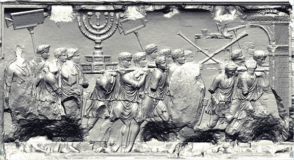 Romans sack the Jerusalem temple, Arch of Titus, Rome, 82  CE