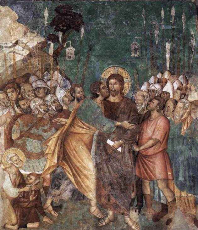 Arrest at Gethsemane, Assisi fresco, 1290