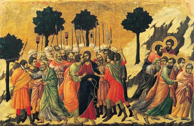 Disciples flee the scene, Duccio di Buoninsegna c. 1310