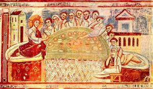 Last supper fresco, Sant'Angelo in Formis, S. Italy, 12th-13thC