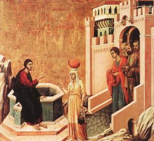 Jesus and the woman at the well, Duccio, 14th C