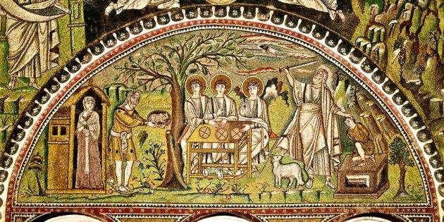 Abraham: hospitality & sacrifice of Isaac, San Vitale, Ravenna,  6thC