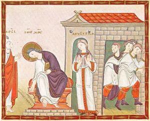 Jesus writing in the sand, Codex Egberti, Carolingian 10thC