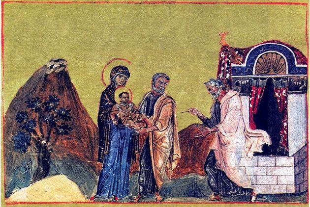 Circumcision of Jesus, Menologion of Basil II, illuminated ms 10thC