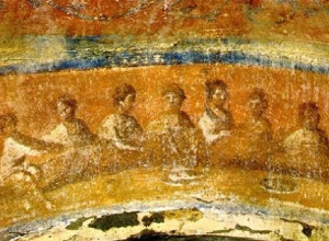 Eucharist, Roman catacomb, 3rdC