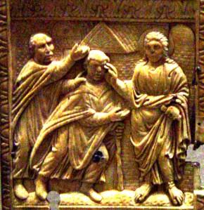 Jesus heals the blind  man, Andrews diptych, Carolingian, 9thC