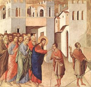Jesus heals the man born blind, Duccio, 14thC