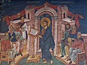 Christ preaching in the synagogue, Visoki Decani Monastery, Serbia 14thC