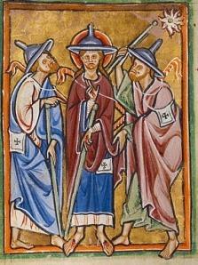 Jesus with Jewish hat, St. Louis Psalter, 13thC