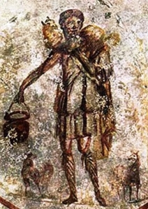 Jesus the good shepherd, Roman catacombs, 3rdC