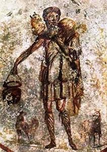 Jesus the good shepherd, Roman catacombs, 3rdC