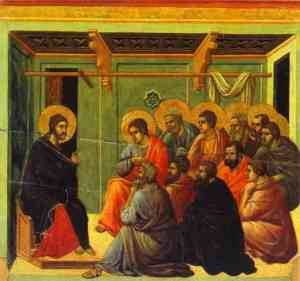 Jesus instructs the disciples, Duccio, 14thC