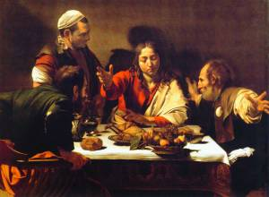 Christ reveals himself at Emmaus, Caravaggio, 17thC