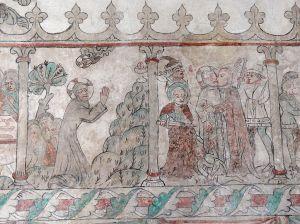 Jesus praying, Judas betraying, Öja Church, Sweden, 15thC