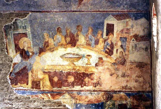 Last Supper,  Judas front right, Hagia Sophia, Trabzon, Turkey, 13thC
