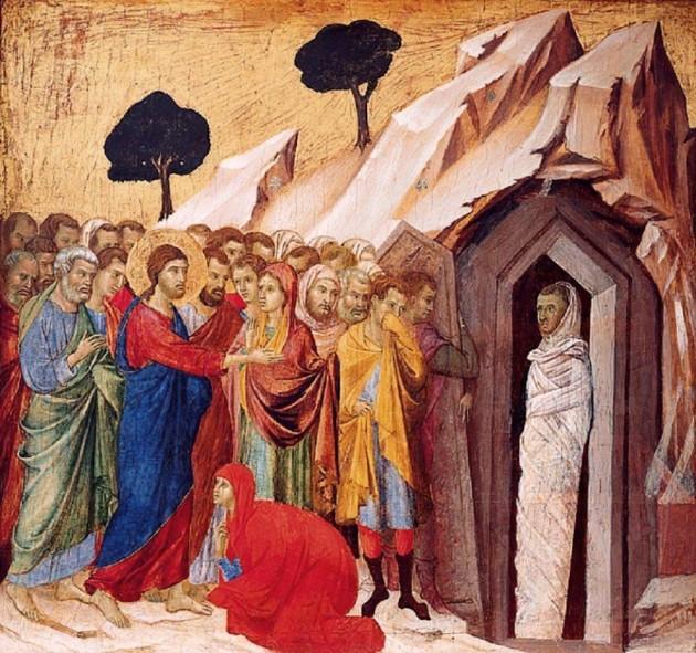 Raising of Lazarus, Duccio di Buoninsegna, 14thC