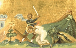 Martyrdom of St Tryphon, Menologion of Basil II, 11thC