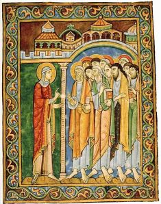 Mary Magdalene announces resurrection to disciples, St Albans  psalter, England, 12thC