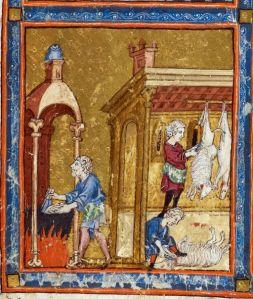 Slaughtering Passover lambs, Golden Haggadah, Spain, 14thC