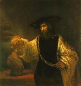 Aristotle Contemplating a Bust of Homer, Rembrandt, 17thC