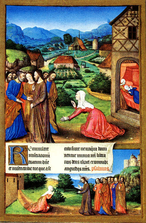 Jesus and the Canaanite woman, Jean Colombe illumination, Très Riches Heures du Duc de Berry, 15thC