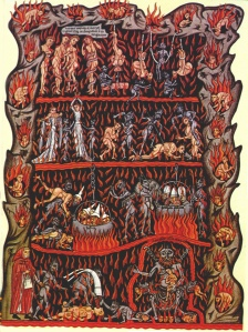 Hell, illumination from the Hortus Deliciarum by Harrad of Landsberg, Alsace, 12thC