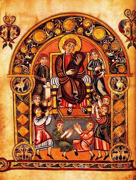 David & musicians, Vespasian Psalter, Canterbury, circa 800