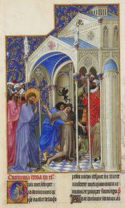 Jesus exorcises demon, Très Riches Heures du Duc de Berry, 15thC