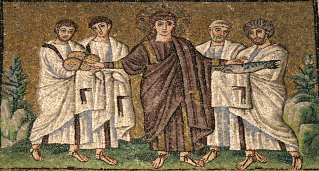 Jesus and the Four Apostles, Ravenna, 7thC
