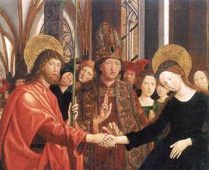 Marriage or betrothal of Virgin Mary, Michael Pacher, Austria, 15thC
