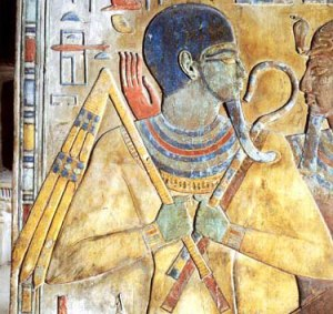"Osiris as Res-udja (""he who awakens intact""), with shepherd's crook and flail"