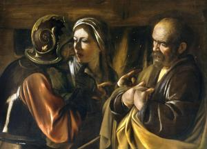 Peter denies knowing Jesus, Caravaggio, 17thC
