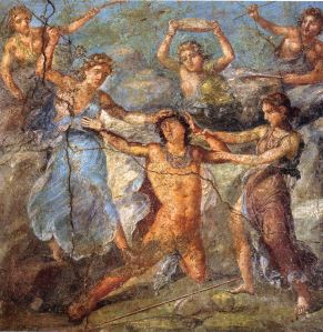 Sparagmos of Pentheus by Bacchantes, wall painting, Pompeii, 1stC