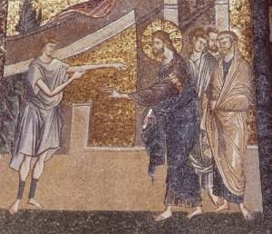 Jesus heals the man with withered hand, Kariye Camii mosaic, Istanbul, 14thC