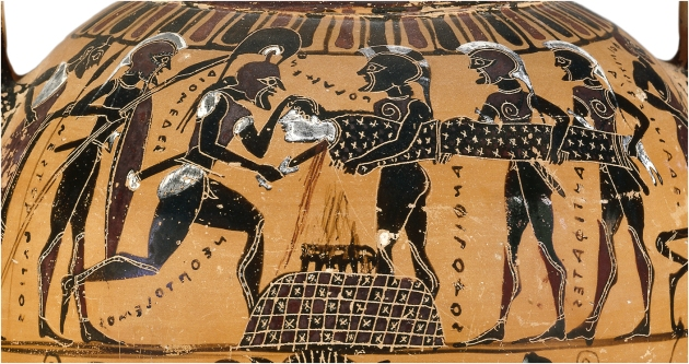 Human sacrifice, Athenian black figure, 6th century BC