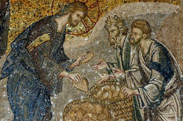Loaves & fishes miracle, mosaic, St Savior,  Chora, Istanbul, 13thC