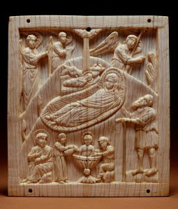 Nativity with Jesus' first bath, ivory, Constantinople, 10thC