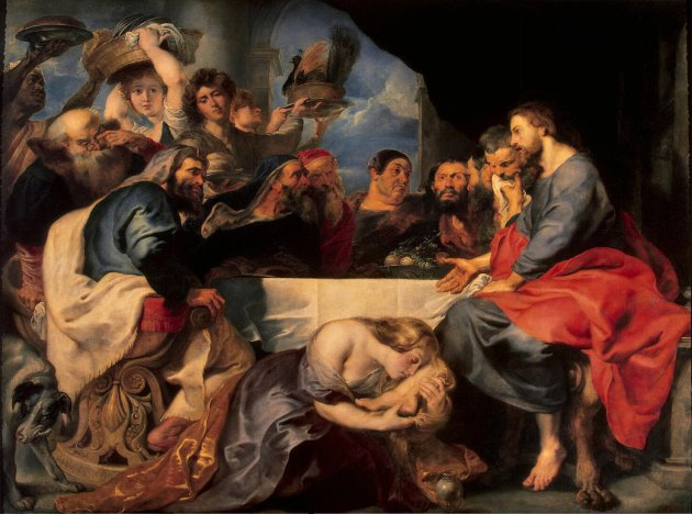 Jesus dines in the house of Simon the Pharisee, Rubens, 17thC