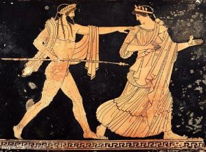 Zeus pursuing Aigina, Athenian red figure, 5th century BC